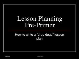 Lesson Planning  Pre-Primer