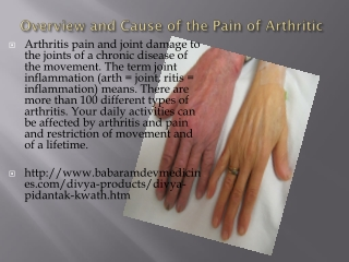 Overview and Cause of the Pain of Arthritic