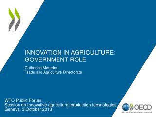 Innovation in agriculture: Government role