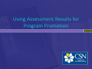 Using Assessment Results for Program Promotion