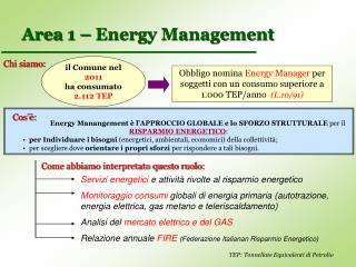 Area 1 – Energy Management