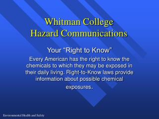 Whitman College Hazard Communications