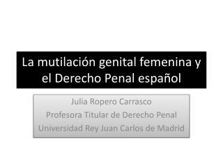 La mutilación genital femenina y el Derecho Penal español