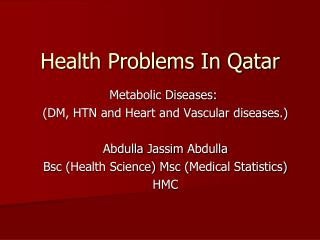 Health Problems In Qatar