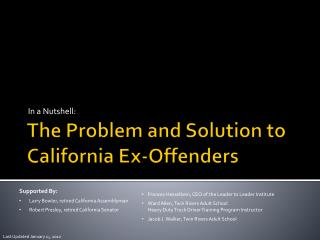 The Problem and Solution to California Ex-Offenders