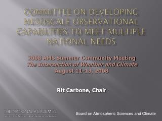 Committee on Developing  Mesoscale  Observational Capabilities to Meet Multiple National Needs