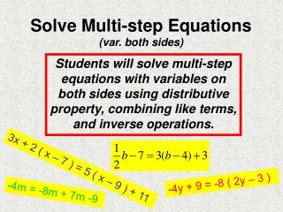 Solve Multi-step Equations (var. both sides)