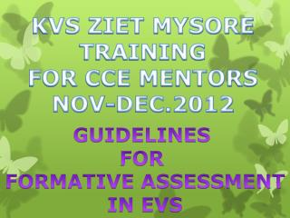 GUIDELINES  FOR  FORMATIVE ASSESSMENT IN EVS