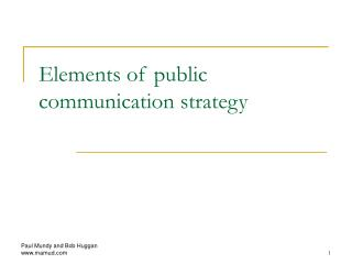 Elements of public communication strategy