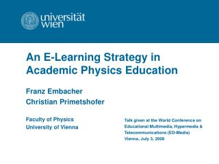 An E-Learning Strategy in Academic Physics Education
