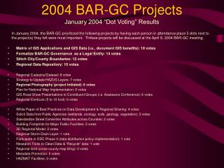 2004 BAR-GC Projects