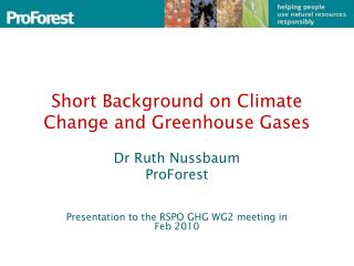 Short Background on Climate Change and Greenhouse Gases