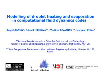 Modelling of droplet heating and evaporation in computational fluid dynamics codes