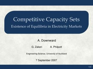 Competitive Capacity Sets Existence of Equilibria in Electricity Markets
