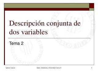 Descripción conjunta de dos variables