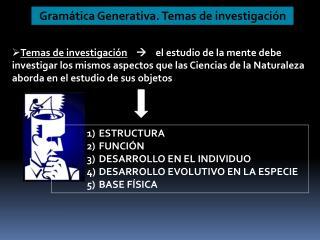Gram�tica Generativa. Temas de investigaci�n