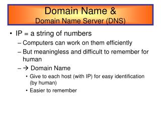 Domain Name &  Domain Name Server (DNS)