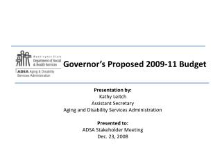 Governor's Proposed 2009-11 Budget