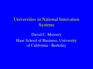 Universities in National Innovation Systems