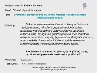 Dalykas. Lietuvių kalba ir literatūra