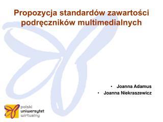 Propozycja standardów zawartości podręczników multimedialnych