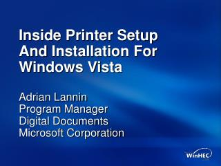 Inside Printer Setup And Installation For Windows Vista