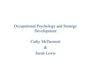 Occupational Psychology and Strategy Development