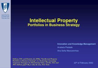 Intellectual Property Portfolios in Business Strategy