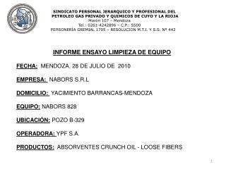 INFORME ENSAYO LIMPIEZA DE EQUIPO  FECHA: MENDOZA, 28 DE JULIO DE  2010 EMPRESA:  NABORS S.R.L