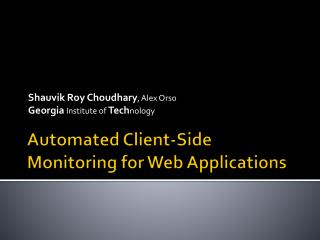 Automated Client-Side Monitoring for Web Applications
