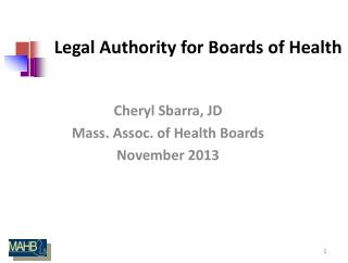 Legal Authority for Boards of Health
