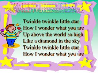 Twinkle twinkle little star How I wonder what you are Up above the world so high