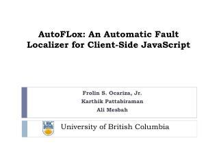 AutoFLox: An Automatic Fault Localizer for Client-Side JavaScript