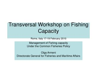 Transversal Workshop on Fishing Capacity  Rome, Italy 17-19 February 2010