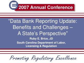 """Data Bank Reporting Update: Benefits and Challenges –  A State's Perspective"""