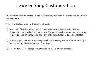 Jeweler Shop Customization