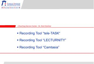 Recording Tool �LECTURNITY�