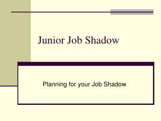 Junior Job Shadow