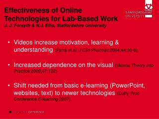 Effectiveness of Online Technologies for Lab-Based Work