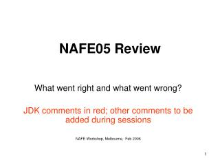 NAFE05 Review