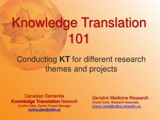 Knowledge Translation 101
