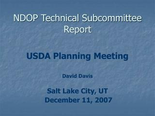 NDOP Technical Subcommittee Report