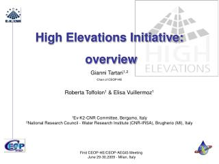High Elevations Initiative:  overview