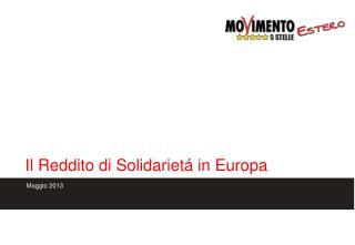 Il Reddito di Solidarietá in Europa