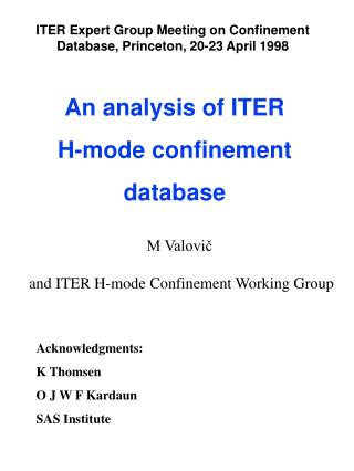 An analysis of ITER  H-mode confinement  database