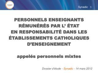 Dossier d'étude -  Synadic  - 14 mars 2012