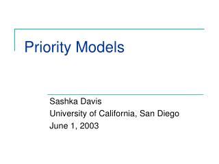 Priority Models