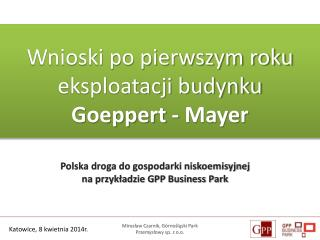 Polska droga do gospodarki niskoemisyjnej  na przykładzie GPP Business Park