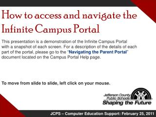 How to access and navigate the Infinite Campus Portal