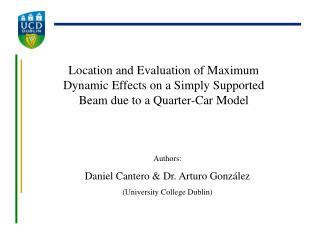 Authors: Daniel Cantero & Dr. Arturo González (University College Dublin)